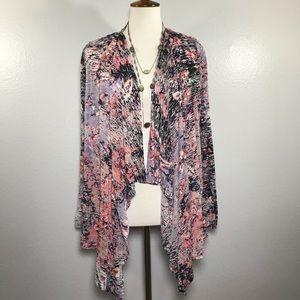 CALVIN KLEIN Abstract Open Cardigan Size Large